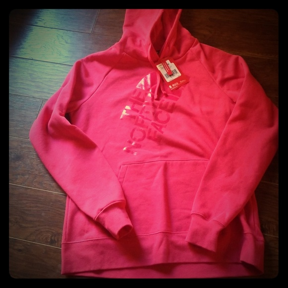 The North Face Tops - North Face pink hooded sweatshirt size L NWT